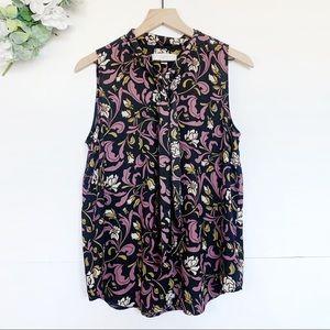 LOFT Floral Print Tie Neck Sleeveless Blouse